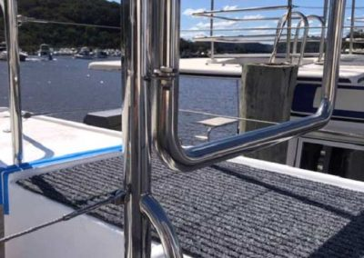 Mirror Finish Stainless Steel gate and rails for houseboat project